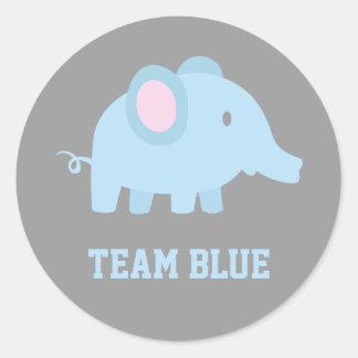 Het Blauw van het team, de Olifant van de Jongen Ronde Sticker