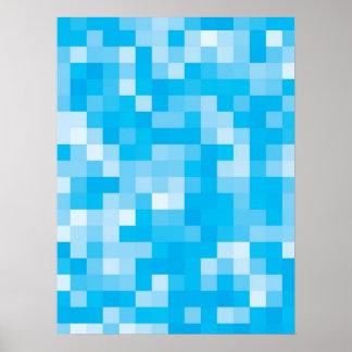 Het Blauw van Pixelated Poster