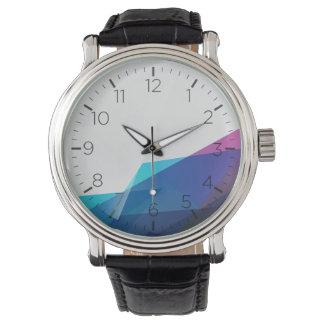 Het blauwe abstracte geometrische horloge van het