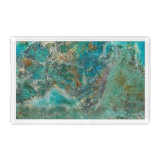 Het blauwe Afbeelding van de Steen Chrysocolla Acryl Dienblad