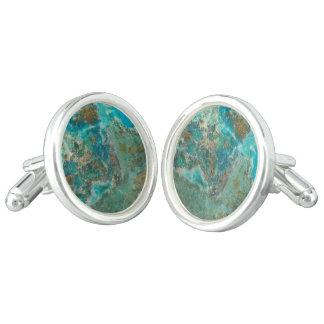 Het blauwe Afbeelding van de Steen Chrysocolla Manchetknopen