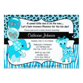 Het blauwe Baby shower van de Giraf van de Olifant Kaart