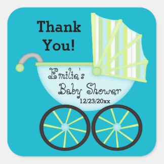 Het blauwe Baby shower van de Jongen van het Vierkant Sticker