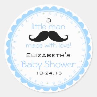 Het Blauwe Baby shower van de snor Ronde Sticker