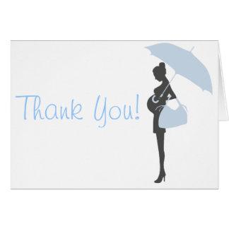 Het blauwe Baby shower van het Silhouet dankt u Kaart