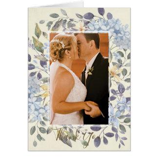 het blauwe bloemen botanische huwelijk dankt u kaart