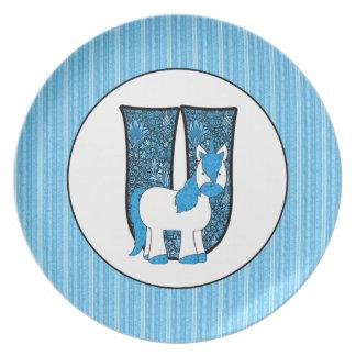 """Het blauwe Bord van de Eenhoorn """"U"""" Kind van het"""