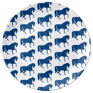 Het blauwe Bord van het Paard Porselein Bord