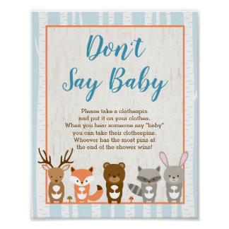 Het blauwe BosDier zegt het geen Spel van het Baby Poster