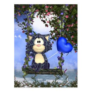 Het blauwe Briefkaart van de Kat, Leuk Briefkaart