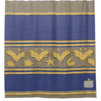Het blauwe Decoratieve Gouden Shells Gordijn van