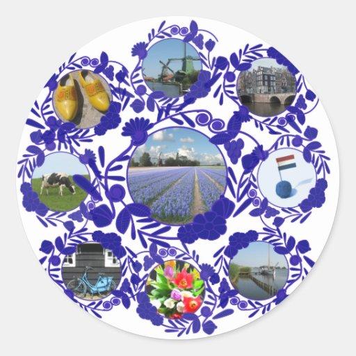 Het Blauwe Delfts blauw van Holland Delft Ronde Sticker