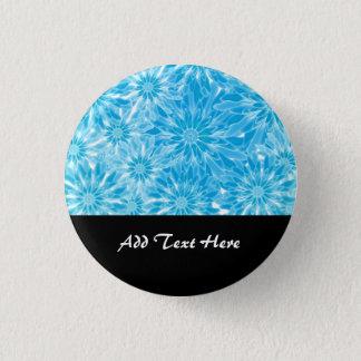 Het blauwe Digitale Art. van Abstracte Bloemen Ronde Button 3,2 Cm