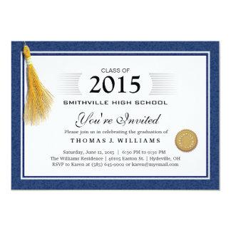 Het blauwe Diploma van de Grens met de Afstuderen 12,7x17,8 Uitnodiging Kaart