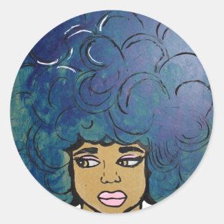 Het blauwe Ebbehouten Grote Haar van het Meisje Ronde Sticker