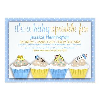 Het blauwe en Gele Baby Cupcakes bestrooit 12,7x17,8 Uitnodiging Kaart
