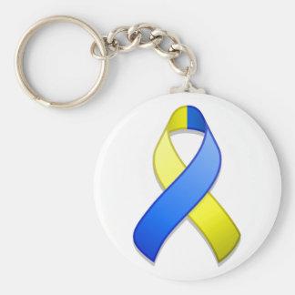 Het blauwe en Gele Lint Keychain van de Sleutelhanger