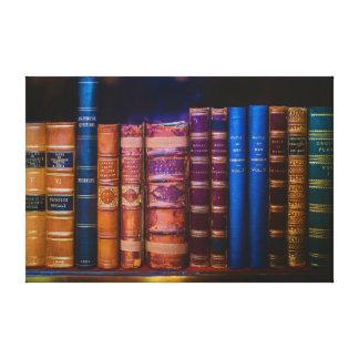 Het blauwe en Gouden Boek van de Dekking op Bruine Stretched Canvas Prints