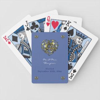 Het blauwe en Gouden Hart van het Huwelijk Poker Kaarten