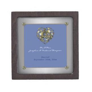 Het blauwe en Gouden Hart van het Huwelijk Premium Juwelen Doos