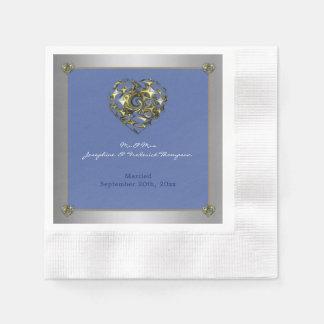 Het blauwe en Gouden Hart van het Huwelijk Wegwerp Servet