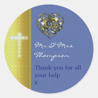 Het blauwe en Gouden Kruis van het Huwelijk dankt Ronde Sticker