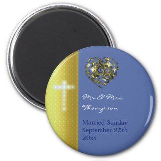 Het blauwe en Gouden Kruis van het Huwelijk Magneet