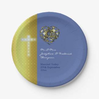 Het blauwe en Gouden Kruis van het Huwelijk Papieren Bordje