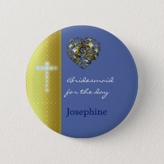 Het blauwe en Gouden Kruis van het Huwelijk Ronde Button 5,7 Cm