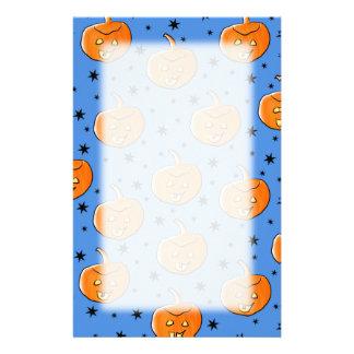 Het blauwe en Oranje Patroon van de Pompoen van Ha Briefpapier