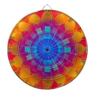 Het blauwe en Oranje Patroon van de Zon Dartbord