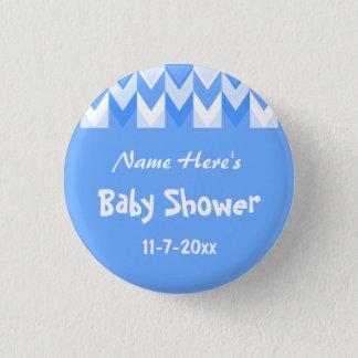 Het blauwe en Witte Baby shower van de Chevron van Ronde Button 3,2 Cm
