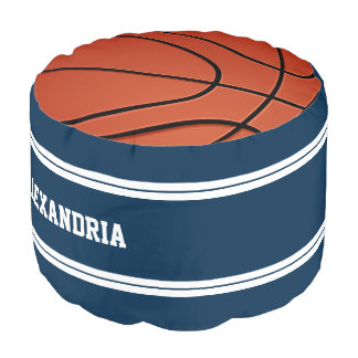 Het blauwe en Witte Basketbal Jersey van Strepen Poef
