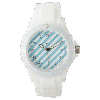 Het blauwe en Witte Diagonale Patroon van Strepen Horloges