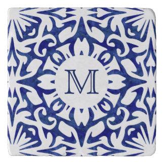 Het blauwe en Witte Monogram van de Tegel van de Trivet