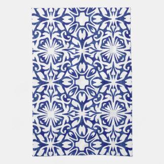 Het blauwe en Witte Patroon van de Tegel van de Theedoek