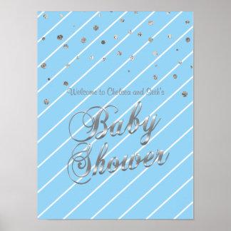 Het Blauwe en Zilveren Baby shower van het mooie Poster