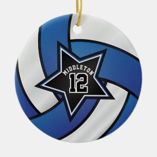 Het blauwe en Zwarte Volleyball van de Ster Rond Keramisch Ornament