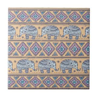 Het blauwe Etnische StammenPatroon van de Olifant Tegeltje
