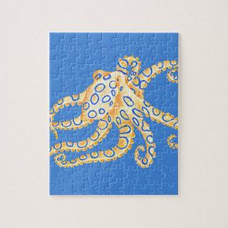 Het blauwe Gebrandschilderd glas van de Octopus Legpuzzel