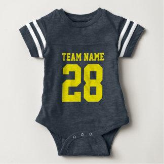 Het blauwe Gele Kruippakje van de Sporten van Baby Bodysuit