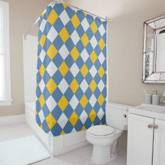 Het blauwe, Gele Patroon van de Gingang Douchegordijn