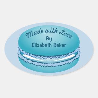 Het Blauwe Gepersonaliseerde Koekje Macaron van Ovale Sticker