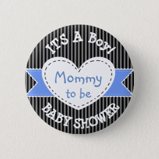 Het blauwe Gestreepte Mamma van de Knoop van het Ronde Button 5,7 Cm