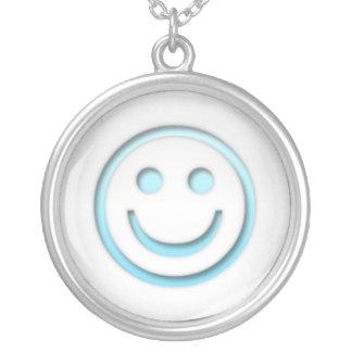 Het Blauwe Gezicht van Smiley Zilver Vergulden Ketting