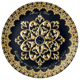 Het Blauwe Goud van de Saffier van de Ouders van Porseleinen Bord
