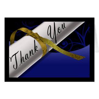Het blauwe & Gouden Diploma dankt u kaardt Notitiekaart