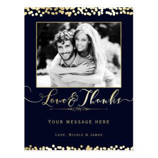 Het blauwe & Gouden Huwelijk van de Foto van Briefkaart
