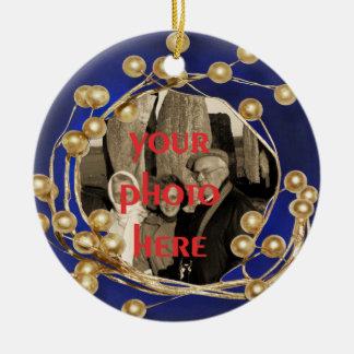 Het blauwe Gouden Ornament van de Foto van het