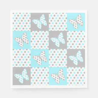 Het blauwe Grijze Grijze Patroon van het Dekbed Papieren Servetten